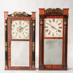 Two Connecticut Stencil-decorated Split-baluster Shelf Clocks