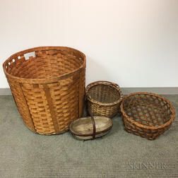 Four Woven Splint Baskets