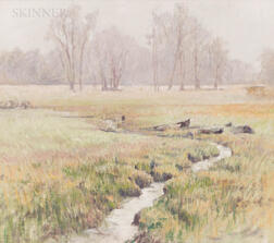 Robert E. Moore (American, 1956-2003)      Study of a Spring Meadow with Brook