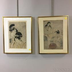 Two Kitagawa Utamaro (1753-1806) Woodblock Prints