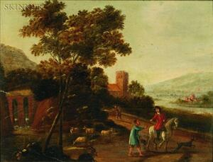 Manner of Claude Gellee, called Le Lorraine (French, c. 1602-1682)    Horseman Giving Alms to a Herder in a Panoramic Landscape