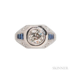 Platinum, Diamond, and Synthetic Sapphire Ring