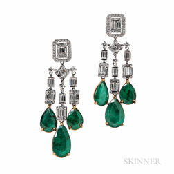 18kt Gold, Emerald, and Diamond Earrings, Umrao