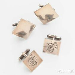 Two Pairs of Sterling Silver Cuff Links