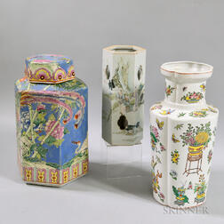 Two Asian Ceramic Vases and a Covered Hexagonal Jar