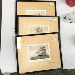 Three Small Etchings of Clipper Ships