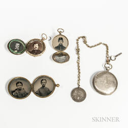 Three Brass-cased Civil War-era Images and a Pocket Watch