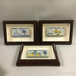 Six Framed Polychrome Pottery Tiles
