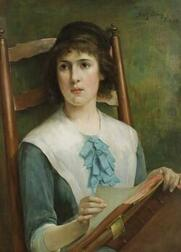 Henry Bacon (American, 1839-1912)The Puritan Maiden/Portrait of a Woman in Blue