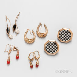 Five Pairs of Gold Earrings