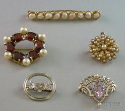 Five 14kt Gold and Gemstone Brooches
