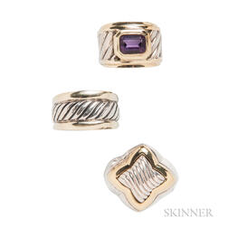 Three Sterling Silver and 14kt Gold Rings, David Yurman
