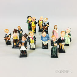 Fourteen Small Doulton Ceramic Character Figures
