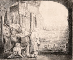 Rembrandt Harmensz van Rijn (Dutch, 1606-1669)      Peter and John Healing the Cripple at the Gate of the Temple