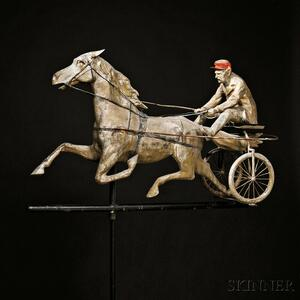 Large Molded Copper Horse and Sulky Weathervane