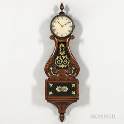 "Carved Mahogany ""Harp-pattern"" or Lyre Clock"