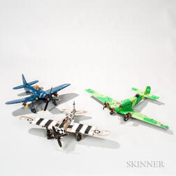 Two Remote-controlled WWII Fighter Planes and an Aviation Model