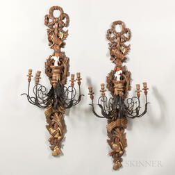 Pair of Decorative Carved Wood, Wrought Iron, Tole, and Porcelain Five-light Wall Sconces