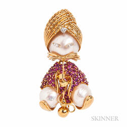18kt Gold, Ruby, and Mabe Pearl Brooch