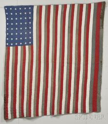 Hand-stitched Cotton Stars and Stripes Quilt