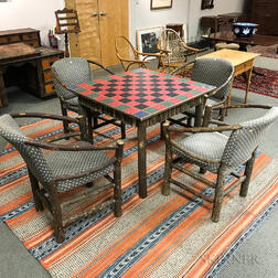 Set of Four Upholstered Hickory Chairs and an Adirondack-style Cottage Games Table.     Estimate $300-500
