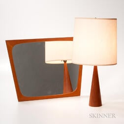 Small Teak Rander's Design Lamp and Aarhus Wall Mirror