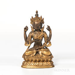 Gilt-bronze Figure of the Four-armed Vajrasattva
