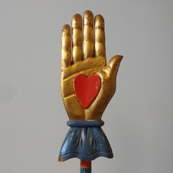 Blue- and Red-painted and Gilt Heart and Hand and Serpent Odd Fellows Warden