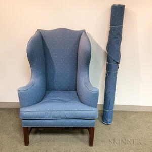 Chippendale Upholstered Mahogany Wing Chair
