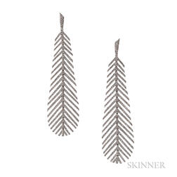 18kt White Gold and Diamond Feather Earrings, Umrao