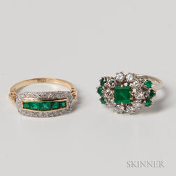 Two 18kt Gold, Emerald, and Diamond Rings