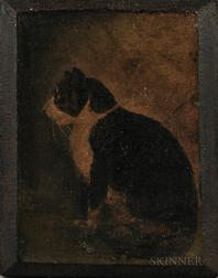 American School, 19th Century      Portrait of a Black and White Cat