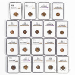 Nineteen NGC-graded Lincoln Cents