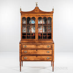 Federal Bird's-eye Maple and Mahogany Veneer Glazed Secretary Bookcase