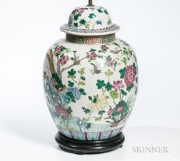 Enameled Covered Jar Mounted as Lamp