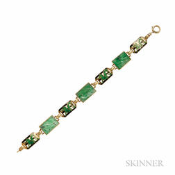 Art Deco 14kt Gold, Jadeite, and Enamel Bracelet, Enos Richardson