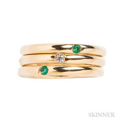 Three 18kt Gold, Emerald, and Diamond Rings, Pomellato