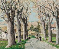 Anthony Thieme (American, 1888-1954)      Sycamore Trees, No. 10, Carretera Málaga