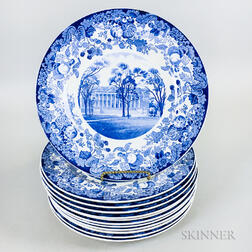Set of Twelve Wedgwood Blue Transfer-decorated Harvard Dinner Plates