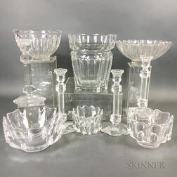 Ten Pieces of Baccarat, Orrefors, and Val St. Lambert Colorless Glass