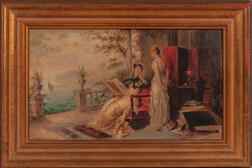 British School, 19th Century      Two Works: Elegant Women in Conversation on a Cliffside Terrace
