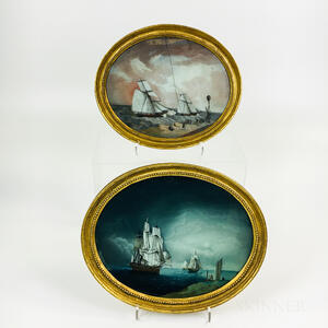 Two Framed Reverse-painted Maritime Scenes
