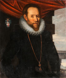 Manner of Marcus Geeraerts the Younger (Flemish 1561-1635)      Man in a Ruff, Said to be Thomas Cecil, First Earl of Exeter, K.G.