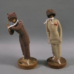 Lafitte-Desirat Wax Fashion Doll Figures of a Golfer and a Tennis Player