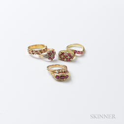 Six Gold, Ruby, and Diamond Rings