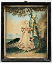 American School, Early 19th Century      Miniature Portrait of Mary Anne Hyde
