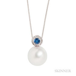 18kt Gold, South Sea Pearl, Sapphire, and Diamond Pendant Necklace