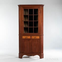 Cherry and Tiger Maple Glazed Corner Cupboard