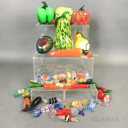 Group of Blown Glass Fruit and Candy.     Estimate $100-200