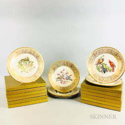 Set of Twelve Boxed Lenox Edward Marshall Boehm-designed Porcelain Bird Plates.     Estimate $100-200